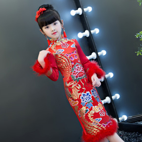 Cheongsam for kids Chinese girls Qipao season girl children worship baby Tang Jiahou Plush girl