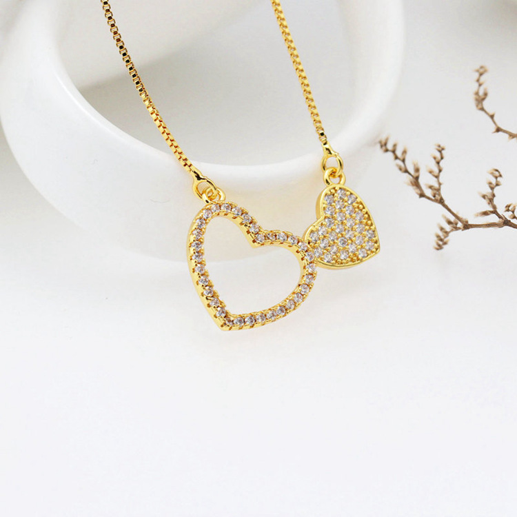 Fashion copper inlaid zircon double heart-shaped necklace NHLN148081