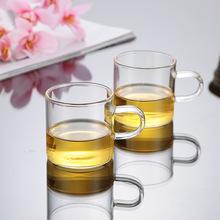 手工耐熱玻璃帶柄茶水杯 透明圓形玻璃杯 花草茶杯 120ML