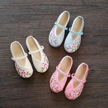 日常古代绣花鞋配汉服袍穿的鞋大童老式女童唐装鞋少女绸缎儿童白