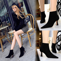 1289-1 Euro-American fashion simple wine cup with high heel suede pointed sexy nightclub slim boots and bare boots