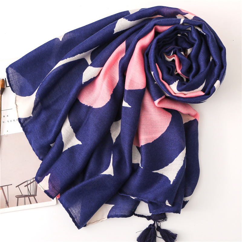 Cotton and linen wave dot scarf women spring and autumn wild navy blue circle long shawl dual-use scarf NHGD182202