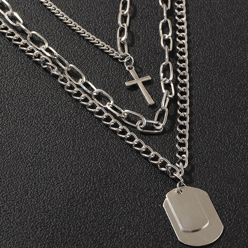 Thick chain sweater chain personality hip hop multilayer cross necklace fashion NHNZ177401