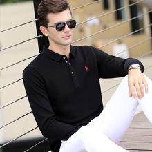 生利发男装秋季新款长袖男T恤翻领纯色宽松百搭 男士全棉 t恤男衫