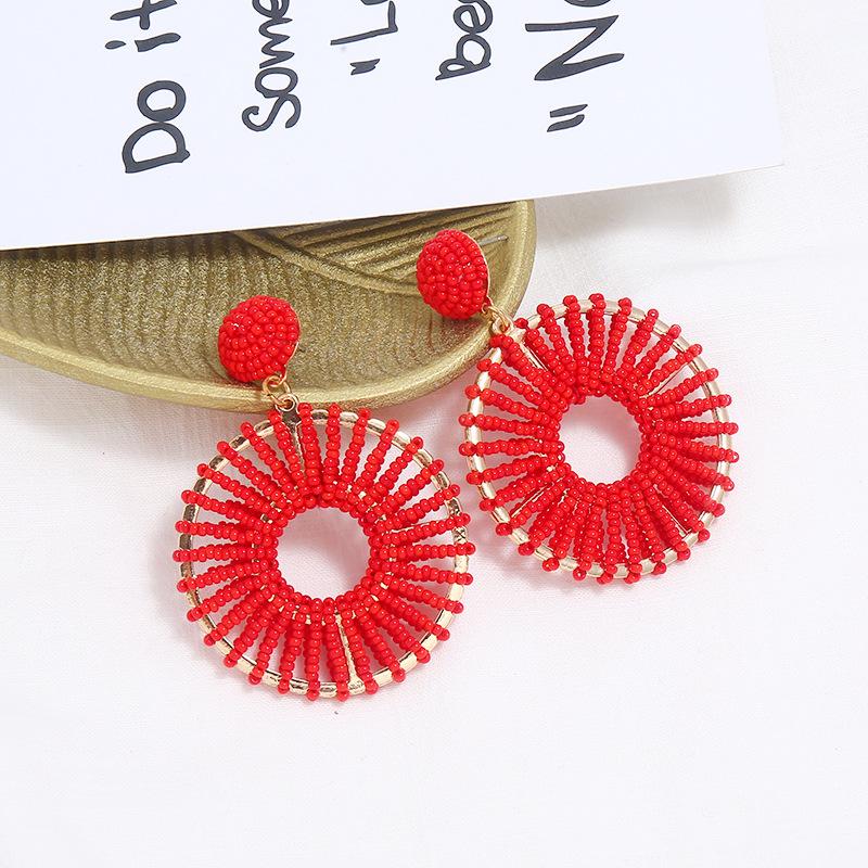 European and American fashion retro circle hollow earrings rice beads NHKQ172860