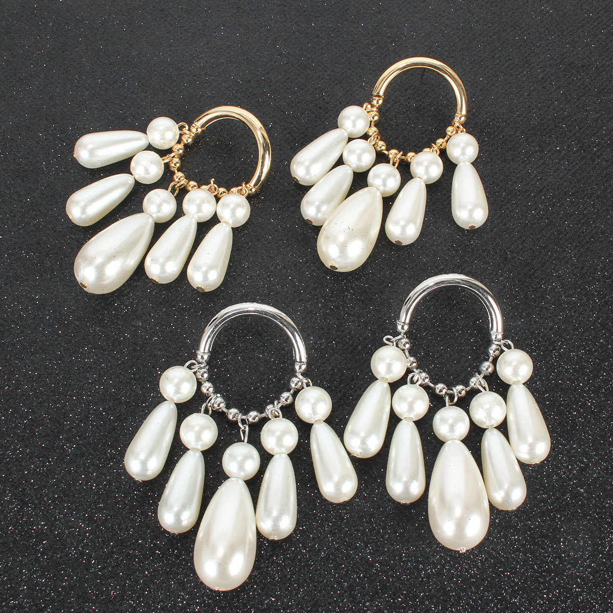Fashion earrings retro alloy imitation pearl tassel earrings fashion simple earrings NHCT202806