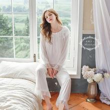 秋冬新款唯美宫廷公主风柔软网纱蕾丝宽松长袖睡衣女士家居服套装