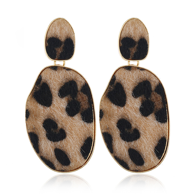 Leopard stud earrings exaggerated geometric wholesale pendant earrings NHKQ185448