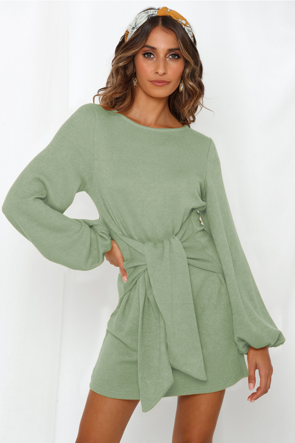 autumn and winter new women's loose lace long-sleeved grass green dress wholesale  NSDF1303