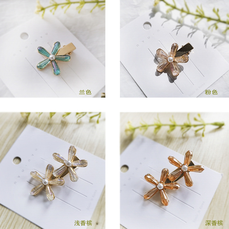 Fashion long and short beads flower hair clip NHOU128666