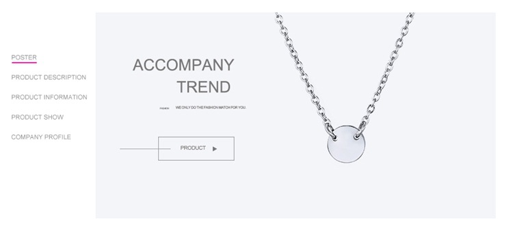 New accessories stainless steel necklace simple geometric smooth clavicle chain necklace 316L NHTF175340