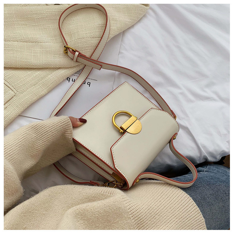 New simple casual one-shoulder small square bag female retro fashion lock portable Messenger bag NHPB178574