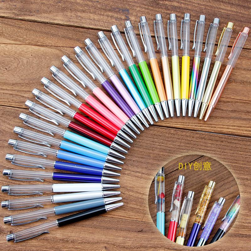 爆款diy手作水晶筆 日韓創意diy手工入油筆 金屬圓珠筆鉆石空桿筆