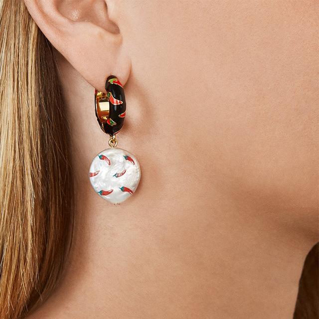 2019新款珍珠水果耳环流行饰品柠檬耳坠创意耳饰配件一件代发
