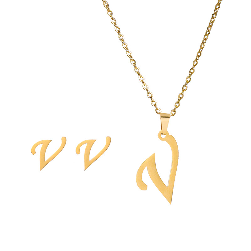 New simple letter necklace earrings set of 26 letters simple creative jewelry stainless steel NHJJ176126