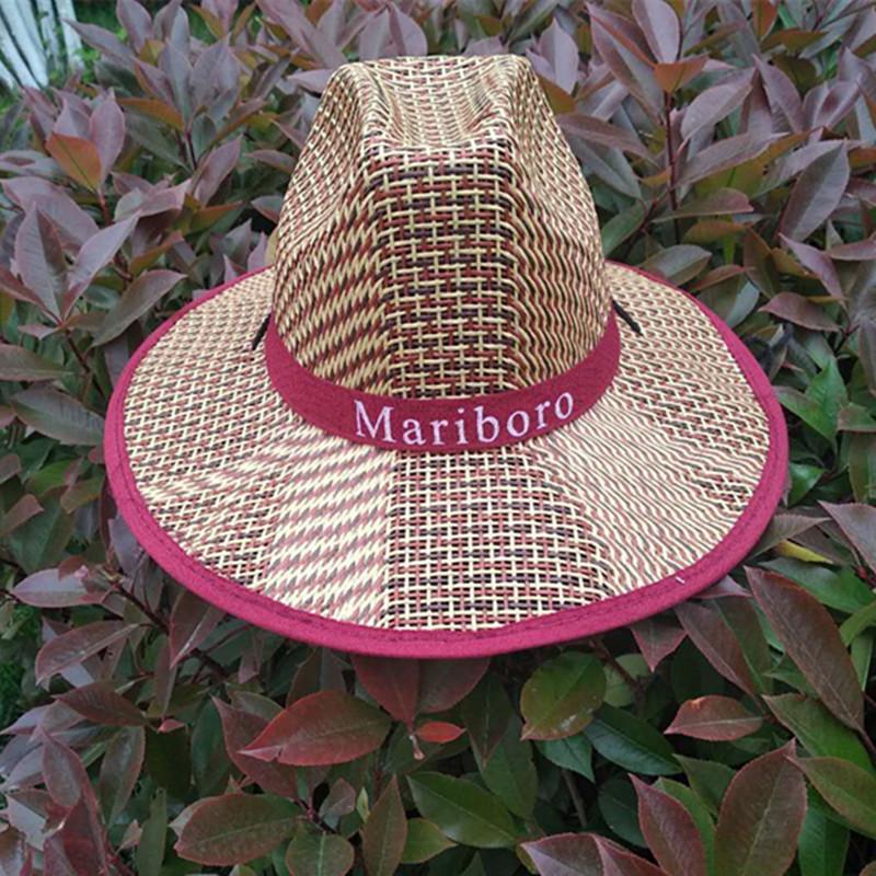 男士草编大檐广告礼帽 夏季凉帽平沿防晒遮阳帽户外老头纸草帽
