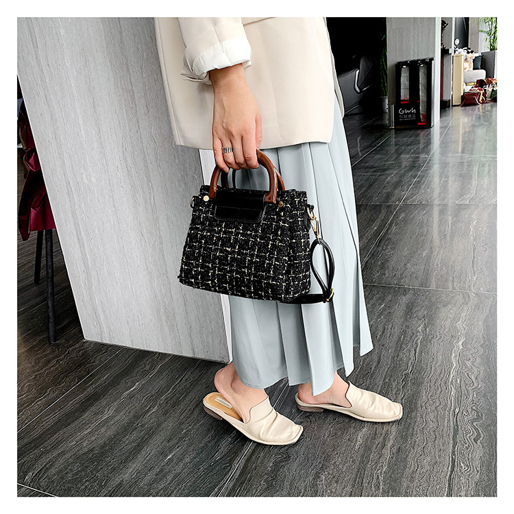 Woolen fashion casual portable mother-in-law bag female simple wild woven shoulder messenger bag NHPB187188