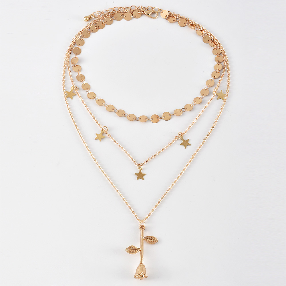 New fashion disc chain fivepointed star rose flower multilayer womens necklace  NHAJ258980