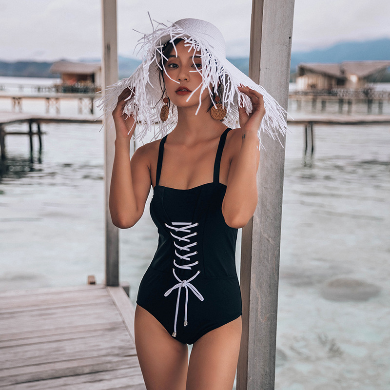 Fashion women's monokinis wholesale new pearl black underwire strap one-piece swimsuit NHHL198892