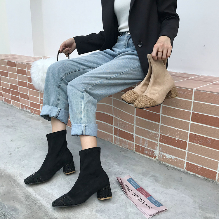 Winter skinny boots thick with stitching stretch short boots square head with socks socks women NHHU180042