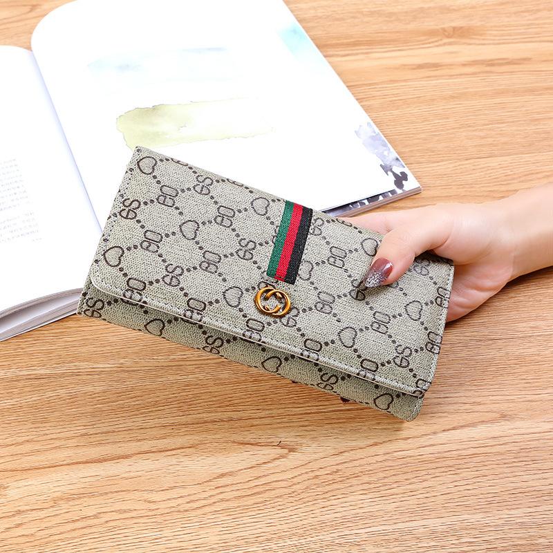 New European and American Wallet Women Long Simple Multifunctional Buckle Soft Wallet