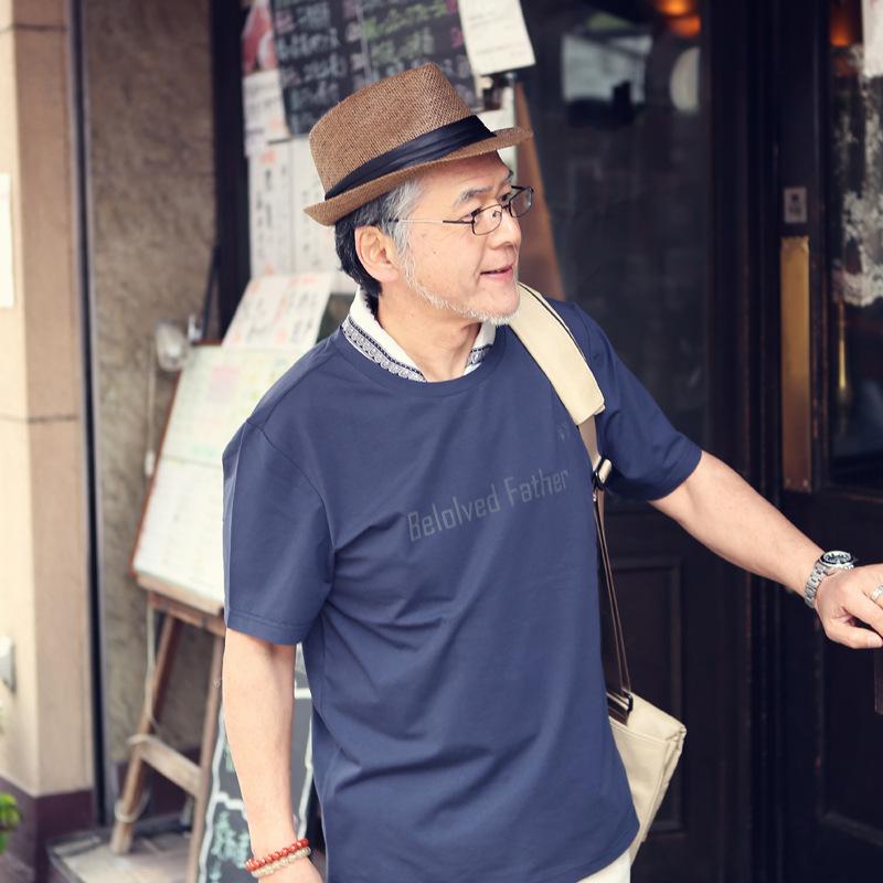 短袖T恤男中年夏装爸爸夏季体恤中老年人时尚潮老人夏天上衣男装