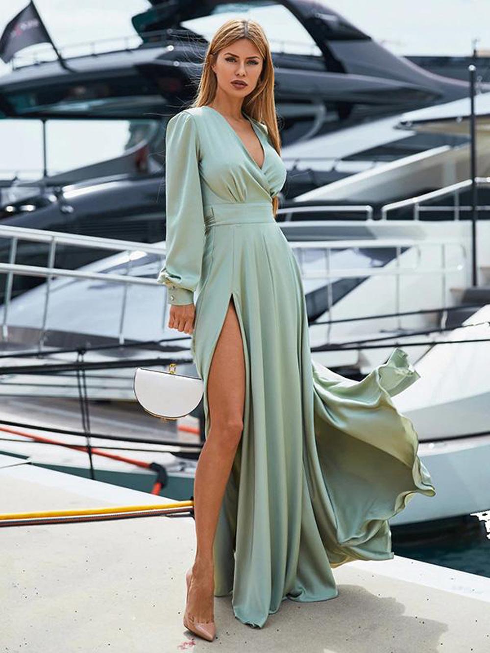 Fashion deep V-neck dress stitching open long skirt NHDF121930