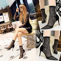 6313-8 European and American fashionable sexy nightclub with thin lace, pointed heel, high heel, suede mesh short boots