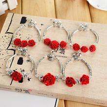 紅漆雕朱砂玫瑰花藏銀手鏈飾品批發夜市旅游景區民族特色
