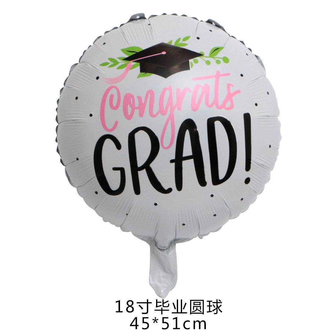 18 بوصة كرة التخرج اللغة الغربية جولة بالون الألومنيوم السينمائي حفل التخرج الديكور بالون حفل التخرج