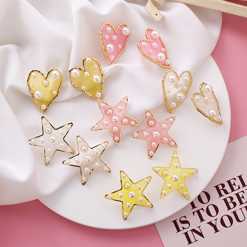 Fashion size pearl love five-pointed star earrings NHMS151022