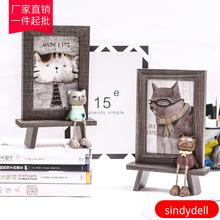 韓式可愛貓咪擺台相框 6寸創意兒童卡通辦公室桌面萌寵木紋像框