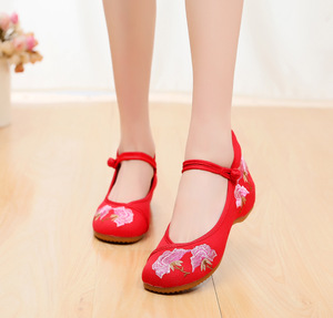 Chinese folk dance hanfu embroidered shoes, national rib soled square Dancer Shoes, working shoes