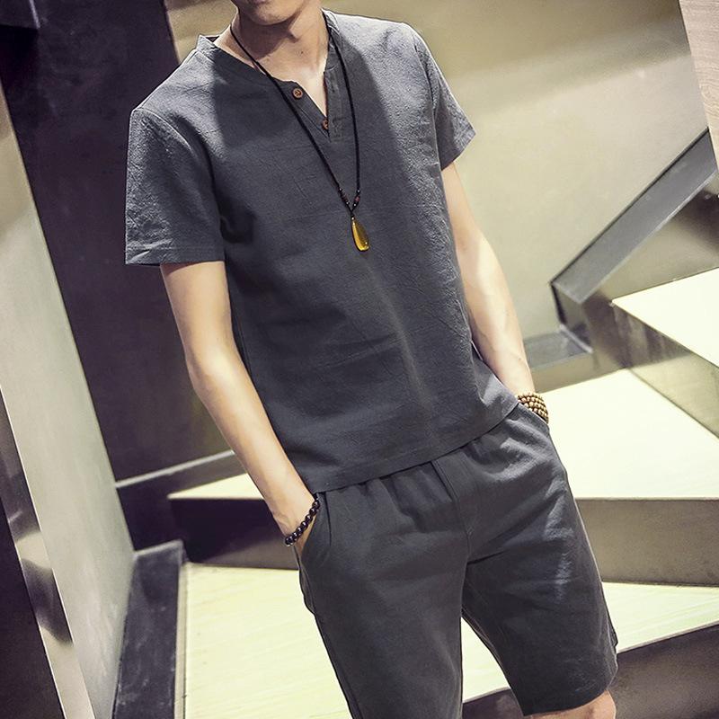 Taobao summer new suit men's cotton linen linen short sleeve T-shirt and Shorts Set
