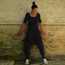 2019欧美wish新款外贸女装短袖休闲?#21487;?#22278;领宽松口袋连体裤0793