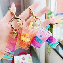 創意可愛入油珍珠奶茶鑰匙扣網紅潮語卡通鑰匙鏈學生解壓玩具禮物