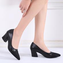 欧美性感中跟高跟鞋女粗跟2019新款高跟鞋职业女鞋拼色四季单鞋潮