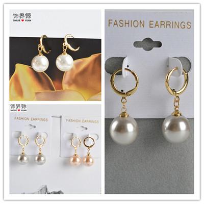 简约时尚气质镀18K真金玻璃珍珠耳环 服饰配件饰品玻璃珍珠耳环