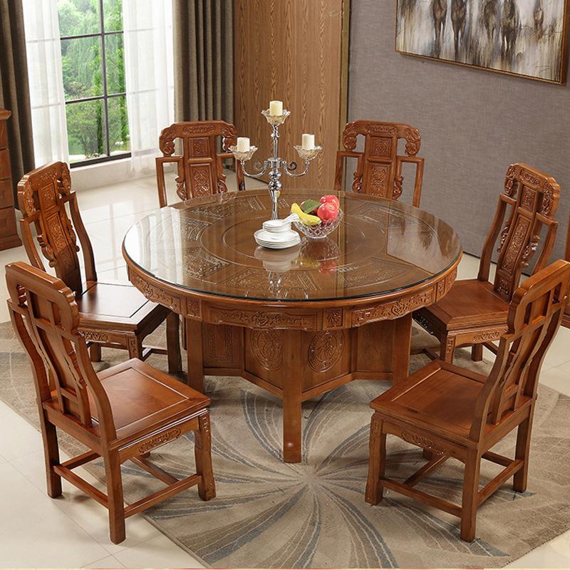 全实木中式圆形餐桌椅组合酒店餐厅家用古典餐桌明清仿古雕花饭桌