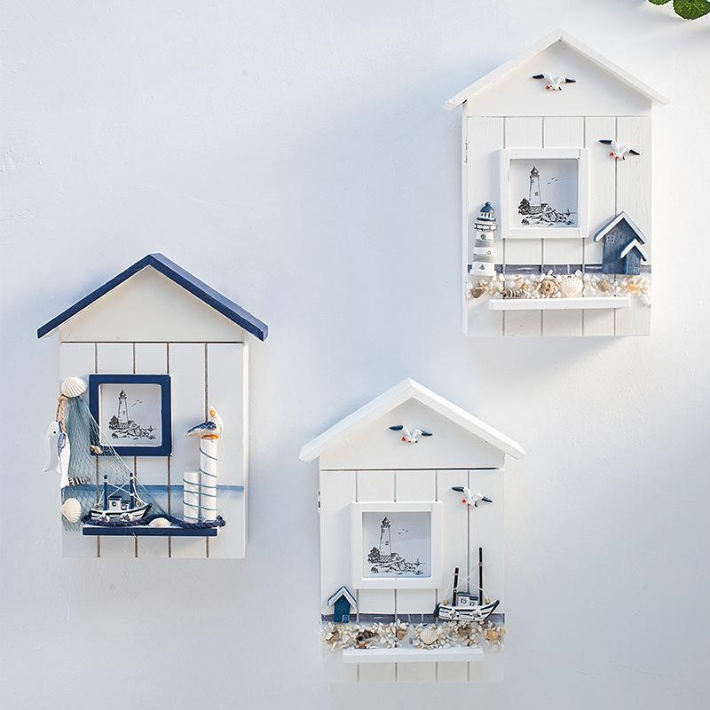 創意裝飾地中海洋實木鑰匙箱鑰匙盒柜墻掛海鳥海塔鑰匙房子收納盒