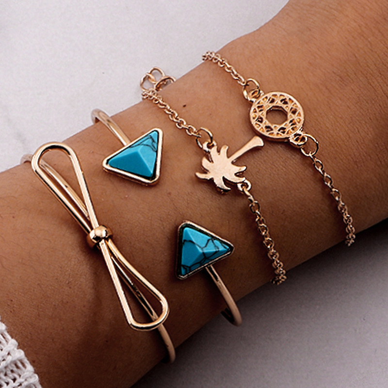 Fashion natural alloy shell starfish turquoise Alloy Bracelet NHNZ122160
