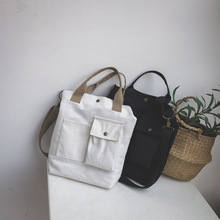 韓國夏季新款簡約帆布包口袋設計簡潔風單肩斜跨手提大容量包包