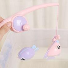包郵抖音同款兒童戲水仿真釣魚玩具磁性釣魚洗澡沐浴套裝玩具地攤