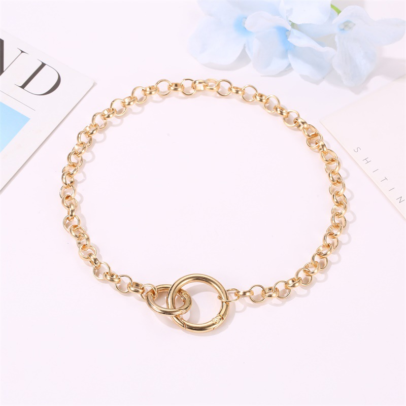 Punk style simple double ring buckle chain necklace hip hop short necklace NHDP176876