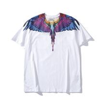 歐美潮牌mb兩色最高復刻升級版彩紫藍翅膀印花T恤男女情侶裝短袖