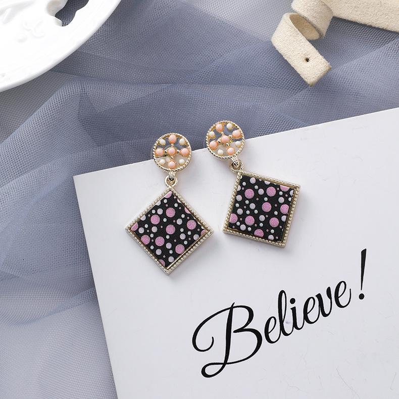 Diamond geometric print colored beads geometric square earrings wholesales fashion NHMS181438