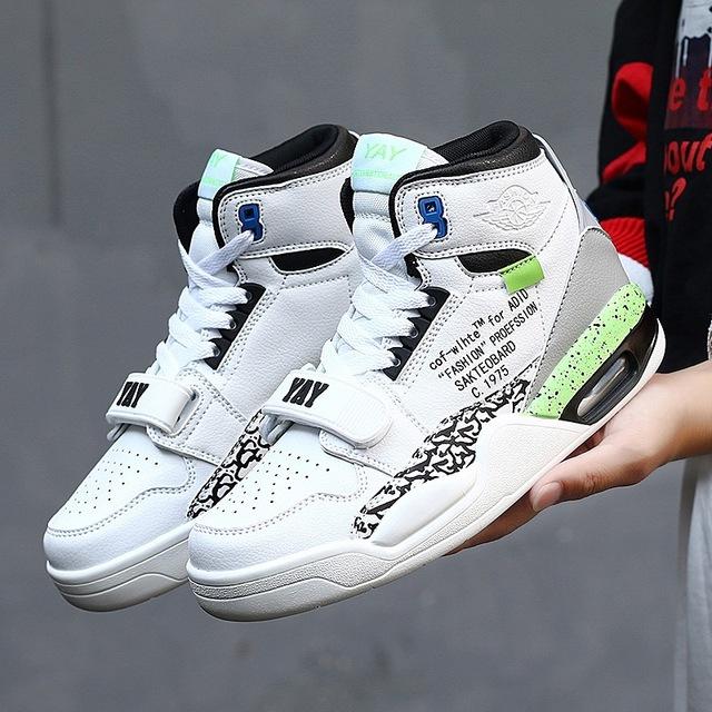 廠家直銷高幫情侶鞋氣墊跑步鞋AJ聯名款籃球鞋時尚男士休閑運動鞋