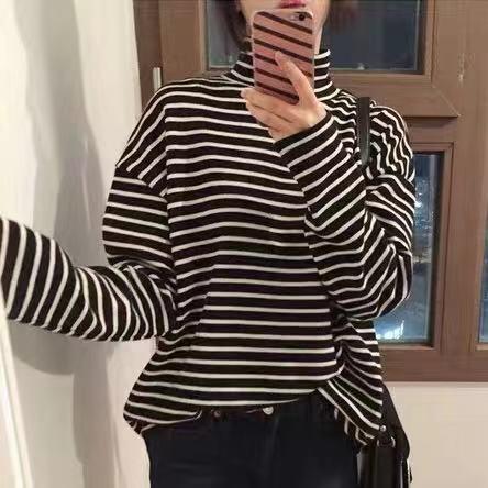 2018秋冬装韩版黑白条纹高领打底衫女内搭长袖t恤百搭宽松上衣潮