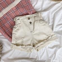 七色花韓國兒童翻邊牛仔短褲夏款女童花苞破洞高腰短褲寶寶熱褲潮