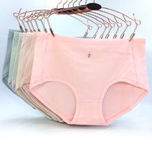 春夏女士內褲 高腰大版舒適柔軟透氣RC有機棉 純色鉆飾女三角褲